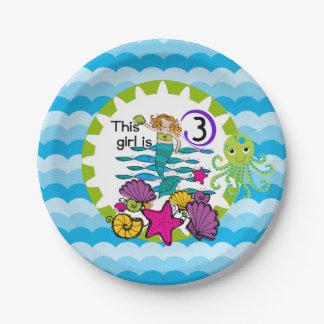 人魚の第3誕生日の紙皿 ペーパープレート