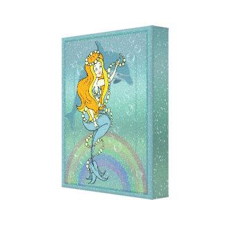 人魚の虹およびイルカのイラストレーションのデザイン キャンバスプリント