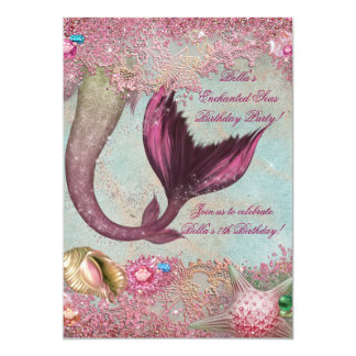 人魚の誕生日のプールのパーティの招待状 カード