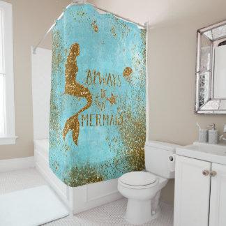 人魚の金ゴールドのグリッターの人魚の視野が常にあって下さい シャワーカーテン