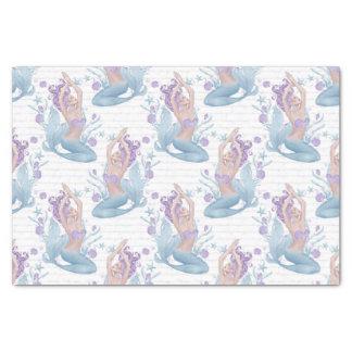 人魚の青いラベンダーのヒトデの海の貝 薄葉紙