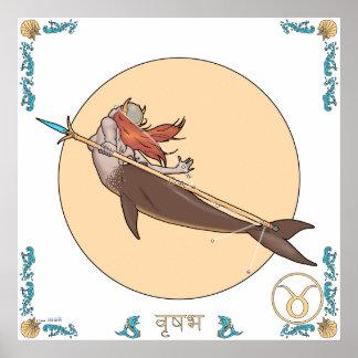 人魚の(占星術の)十二宮図のプリント-トーラス ポスター
