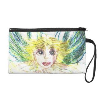 人魚のBaggetteの財布のパステルの水彩画 リストレット