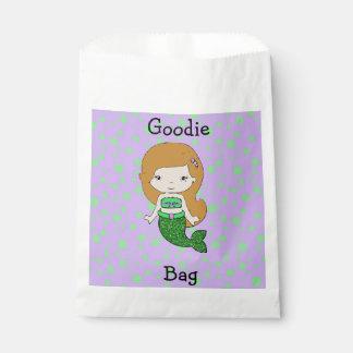 人魚のGoodieのかわいい緑及び紫色のバッグ フェイバーバッグ