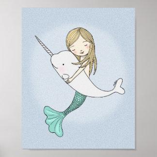 人魚のNarwhalポスター甘く航海のな壁の装飾 ポスター