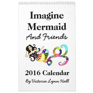 人魚及び友人2016のカレンダーを想像して下さい カレンダー