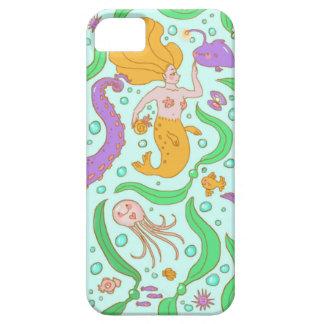 人魚及び海藻パターン iPhone SE/5/5s ケース