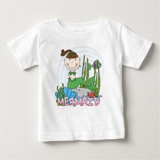 人魚-ブルネットの女の子のポニーテールのTシャツおよびギフト ベビーTシャツ