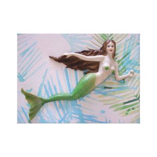 人魚、元の芸術、海、人魚、ビーチ キャンバスプリント