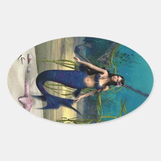 人魚 楕円形シール