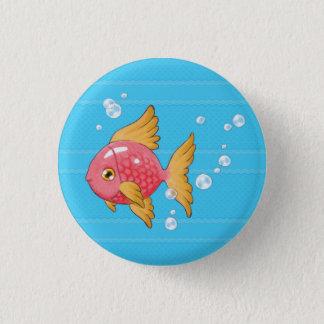 人魚(魚、青い) 3.2CM 丸型バッジ