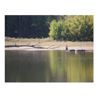 人、カヌー、犬および流木 ポストカード