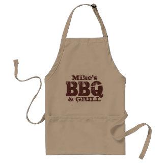 人|ブラウンベージュ色のための名前入りな名前BBQのエプロン スタンダードエプロン