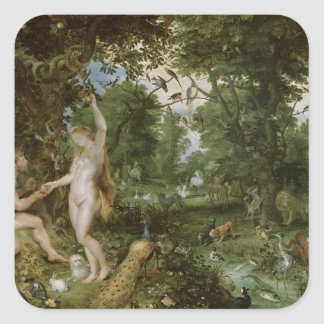 人、c.1615の秋が付いているエデンの園 スクエアシール