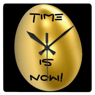今では時間はシックな柱時計です! スクエア壁時計