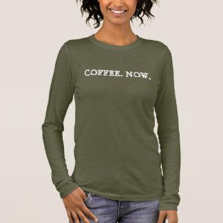 今コーヒー長い袖のワイシャツのTシャツの上 長袖Tシャツ