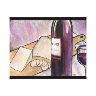 今夜ワインおよびチーズ キャンバスプリント