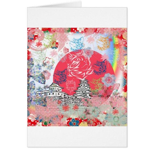 今治城と花とねこ カード