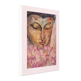 仏のピンクのはす水彩画のキャンバスのプリント キャンバスプリント