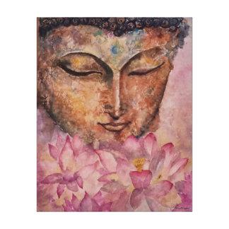 仏のピンクのはす水彩画のプリントのキャンバスプリント キャンバスプリント