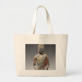 仏の変色させた彫刻-唐朝(618) ラージトートバッグ