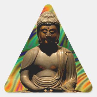 仏の平和なめい想のプリント 三角形シール
