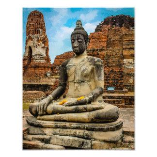 仏の彫像Ayutthayaタイ フォトプリント