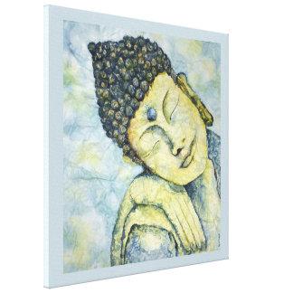 仏の水彩画のプリントのキャンバス24x24のめい想 キャンバスプリント