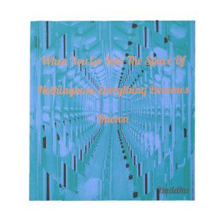 仏の発言を用いる明るい青の抽象芸術 ノートパッド
