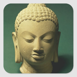 仏の頭部、Sarnath (砂岩) スクエアシール