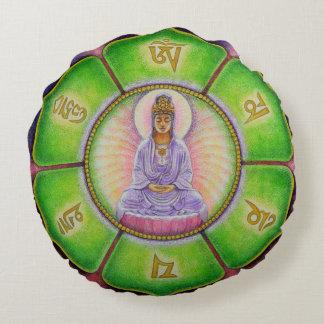 仏の黙想OMの円形の枕曼荼羅のKuanのイン ラウンドクッション