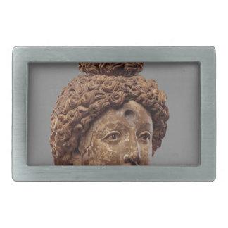 仏または菩薩の頭部 長方形ベルトバックル