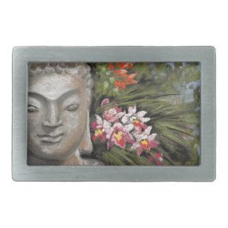 仏及びジャングルの花 長方形ベルトバックル