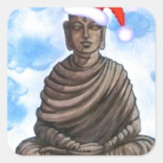仏教-仏-メリークリスマスの帽子 スクエアシール