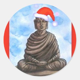 仏教-仏-メリークリスマスの帽子 ラウンドシール