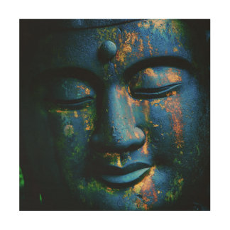 仏青いOmの平和 ウッドウォールアート