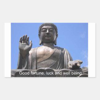 仏-幸運、運および福利 長方形シール