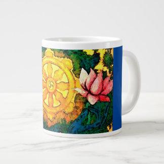 仏Dharmaの車輪およびはす ジャンボコーヒーマグカップ