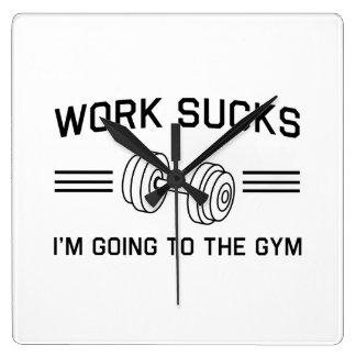 仕事の最低私は体育館に行っています スクエア壁時計