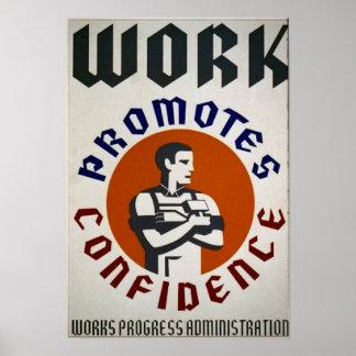 仕事は自信-昇進ポスター--を促進します ポスター