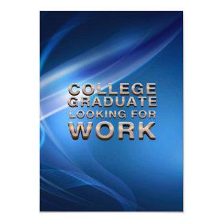 仕事を捜しているティーの大学卒業生 12.7 X 17.8 インビテーションカード