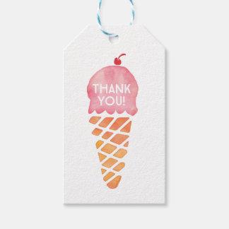 付けます|の好意のラベル|のピンクのアイスクリームにありがとう ギフトタグ