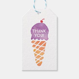 付けます|の好意のラベル|の紫色のアイスクリームにありがとう ギフトタグ