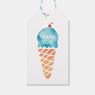 付けます|の好意のラベル|の青いアイスクリームにありがとう ギフトタグ