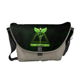 代替医療の緑のケリュケイオンの医学の記号 メッセンジャーバッグ