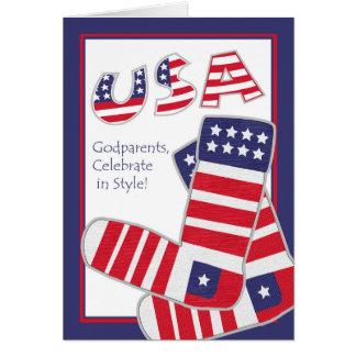 代父母、愛国心が強いソックスのための7月4日 カード