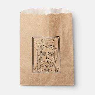 仮面舞踏会のウサギのにんじんの棒つきキャンデーの線画のデザイン フェイバーバッグ