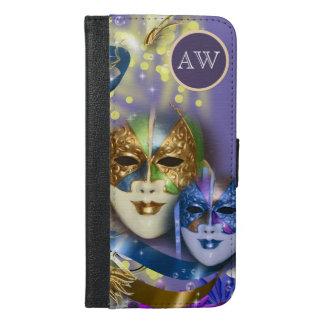 仮面舞踏会のキンセアニェラのベニス風のマスクの女の子 iPhone 6/6S PLUS ウォレットケース