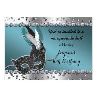 仮面舞踏会のティール(緑がかった色)の銀の誕生日のパーティの招待状 カード