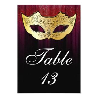 仮面舞踏会のテーブル数カード 12.7 X 17.8 インビテーションカード